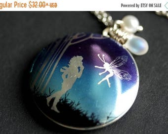 VALENTINE SALE Fairy Locket Necklace. Purple and Blue Fairy Necklace with Glass Teardrop and Fresh Water Pearl. Fairy Jewelry. Silver Locket