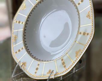 Antique Dinnerware Set 12 George Jones Bowls with 22Kt Raised Gold Accents Cream Colored Border Octagon Shaped Rim Wedding Gift China Dishes