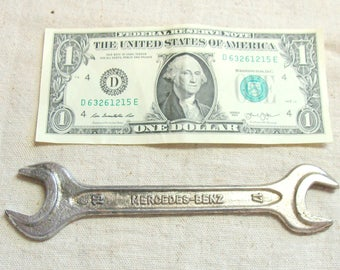 Vintage Walter Tool Co. Mercedes Benz Marked Wrench, 17mm & 19mm Open End, Made in West Germany