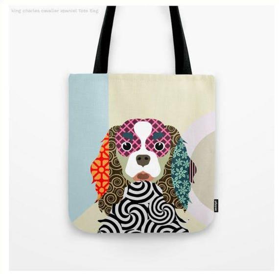 Cavalier King Charles Bag,  King Charles Gifts,  king Charles Spaniel Art Print,  Dog Tote Bag, Dog Lover's Gift