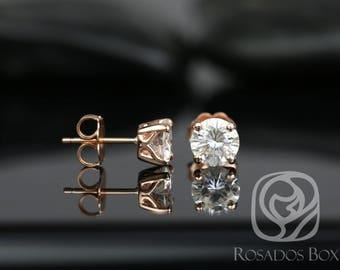 Rosados Box Donna 6mm 14kt Rose Gold Round F1- Moissanite Leaf Gallery Basket Stud Earrings