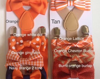 Boys Bow tie Suspenders Orange Bow ties Baby bowtie Suspender Toddler Necktie Mens Wedding Ring bearer Outfit Tan Braces for Men fathers Day
