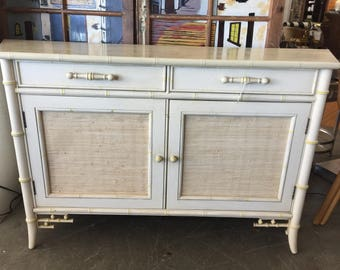 Century Furniture Faux Bamboo Grasscloth Vintage Cabinet With Angled Sides