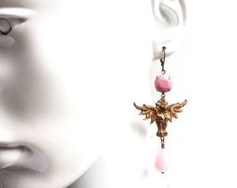 Gorgeous Pink Dramatic Dragon Earrings with 1930s French  Brass Stampings and Glass and Gemstone Beads