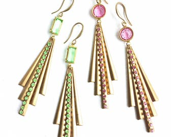 Stunning Pink or Green Art Deco Inspired Earrings with Swarovski Crystal Beads and Chain