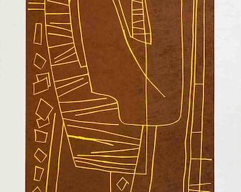 Alberto Magnelli-Untitled II (Fond Brun)-1970 Linocut-SIGNED