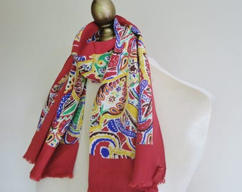 1940s silk scarf, unisex silk scarf, bright scarves, vintage scarf,  WW2 era, oblong silk scarf, antique scarf, red silk scarf, paisley silk
