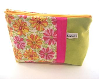summer flowers make up case , zippered pouch in lime green canvas  and floral fabric