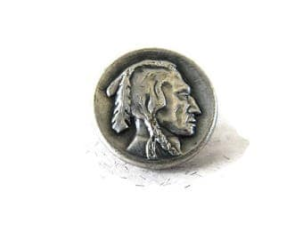 small vintage Indian head nickel button, La Mode