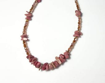 pink rhodonite gemstone chip necklace Czech fire polished pink crystal necklace rose pink beaded stone jewelry necklaces for women