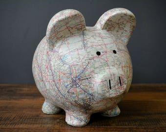 Bank of america etsy - Extra large ceramic piggy bank ...