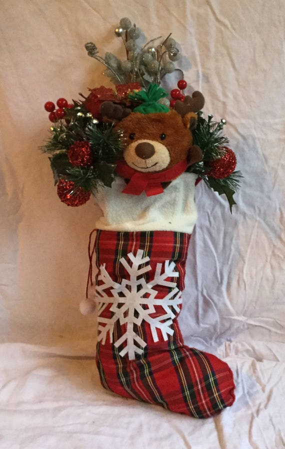 Christmas Bear Stocking Floral Arrangement