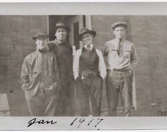 Old Photo Group of Men Standing in Front of Doorway all wearing Hats 1910s Photograph vintage