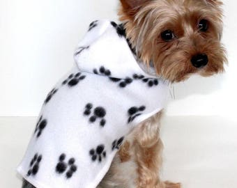 Cute Paw Print Dog Hoodie, XXS XS S - White with Black Paws Fleece Dog Jacket, Lightweight dogs coat