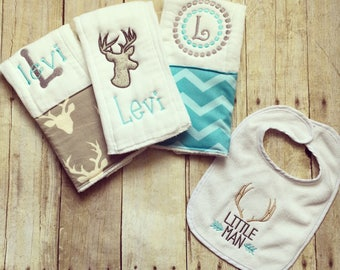 Personalized baby boy burp cloths and bib set-deer
