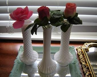Vintage white milkglass vases  9 inch vases 3 pc set wedding table decor white decor