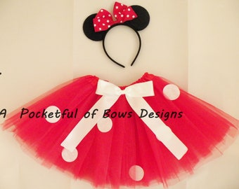 Red Mouse Tutu Costume with Mouse Ears Headband, 1st Birthday Girl, 2nd, 3rd, 4th