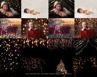 100+ Christmas Fantasy Bokeh Overlays, Photoshop Overlays, Holiday Lights Overlays, Photo Overlays, Real Bokeh Overlays for Photographers