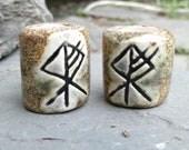 Set 2 Wolf Rune Macrame Beads Large Hole Grey Brown Ceramic Elder Futhark Norse Viking Beads Dreads Dreadlocks Fenrir Clay Beads
