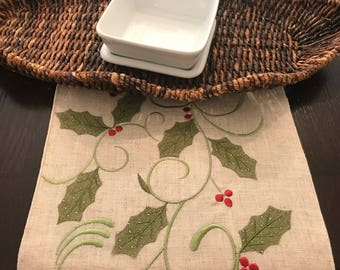 """Christmas Table Runner   Holly Table Runner   Farmhouse   Rustic   Long   72""""   Embroidered   Shaby Chic   Monogram"""