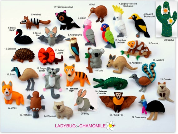Australian animals felt magnets ornaments toys price per 1 like this item sciox Gallery
