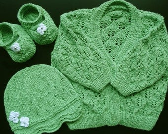 Hand Knitted Bamboo Baby Cardigan, Hat and Bootees