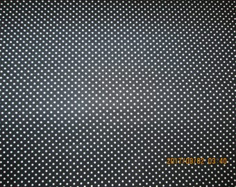 BLACK BACKROUND With WHITE  Pin Dots  1 Yard - 100% Cotton  Fabric by Patrick Lose, Fine Cotton Fabric