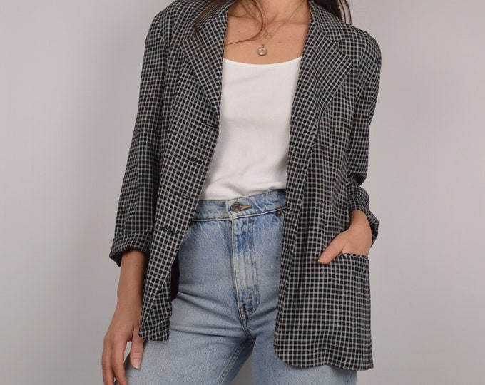 Vintage Lightweight Plaid Blazer