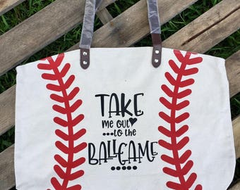 Canvas Baseball Tote // Baseball bag // Softball Bag// Softball Tote