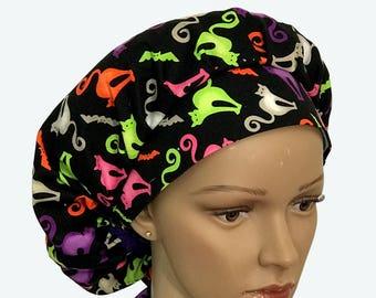 Bouffant Surgical Scrub Hat - Halloween Theme Scrub Hat - Colorful Cats on Black Bouffant Scrub Hat - Ponytail Scrub hat - Custom Scrub Hat