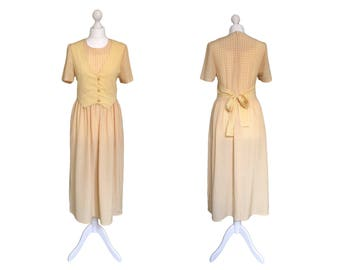 Yellow 90's Dress | 1990's Vintage Dress | Waistcoat Dress | Yellow And White Check Dress