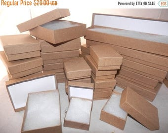 On Sale Gift Boxes 100 Assorted Size, Kraft Cotton filled Presentation, Display Jewelry Boxes