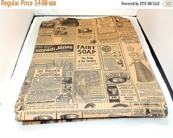 On Sale 20 Vintage 12x15 inch Newsprint Bags, Vintage Newspaper Kraft Party Merchandise Bags,  Photo size #30 weight Gift paper Favor Bags