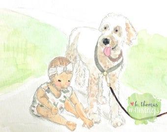Custom Child and Pet Watercolor Portrait
