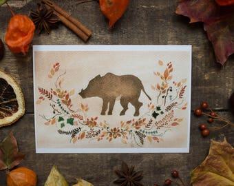 Wild Boar Totem - postcard