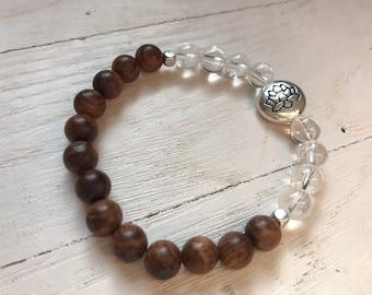 Aromatic Rosewood and Crystal Quartz Mala Bead Bracelet/ Rosewood and Quartz Lotus Flower Bracelet/ Yoga Meditation Bracelet