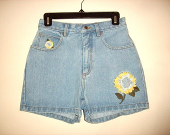 Vintage 1990s High Waist Sunflower Denim Shorts, Size Small