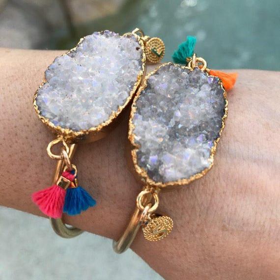 Personalized Intial Tassel Druzy cuff bracelets, druzy jewelry, tassel jewelry, intial jewelry, boho jewelry