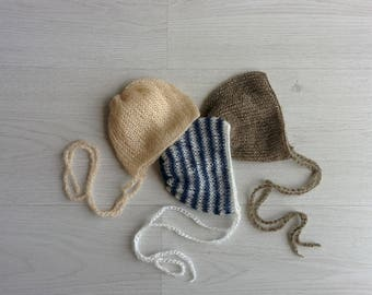 Newborn mohair hat Newborn knit bonnet Newborn photography prop hat Newborn lace bonnet Classic bonnet Newborn photography props Bundle of 3