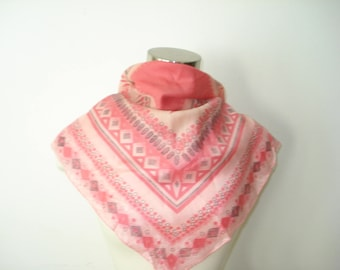 Vintage Pink Scarf - Square Bright Fashion Scarves - Womens Accessories 1970s