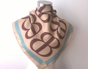 Vintage BACCARAT Scarf - Logo Brown Silk Square Scarves - Women's Designer 1970s