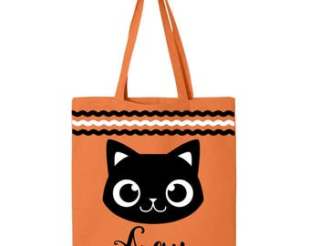 Personalized Halloween Trick or Treat Bag- Black Cat