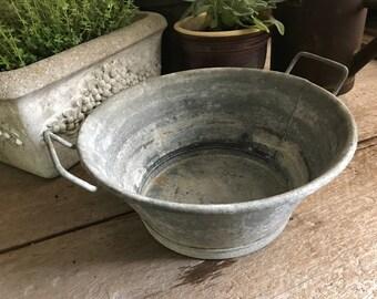 Vintage French Zinc Basin, Planter, Tub,  French Country Farmhouse, Industrial Garden Decor