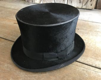 French Black Silk Top Hat,  Medaille D'or, Diamant