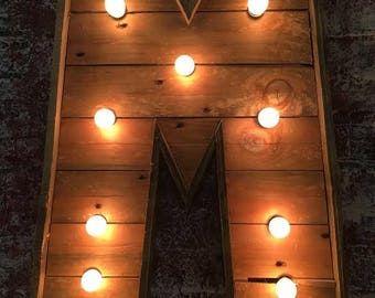 """18"""" tall Wedding Initials Pallet Letter with Lights"""