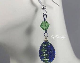 Seahawks Crystal Dangle Earrings