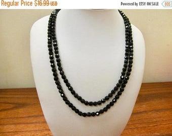 On Sale Vintage Very Long Black Glass Beaded Necklace Item K # 1812