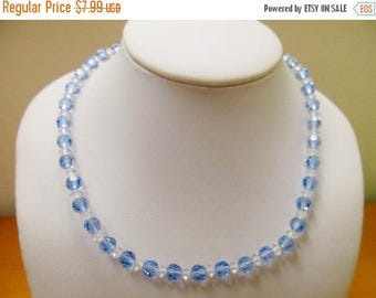 ON SALE Vintage Blue and Clear Glass Beaded Necklace Item K # 1210