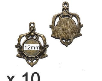 10 supports pendant bronze mod07 12mm cabochon