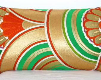 Stunning Oriental Pillow Cushion woven in a stylised Art Deco Arch design in Metallic Emerald Green, Red & Gold made from Japanese Obi Silk